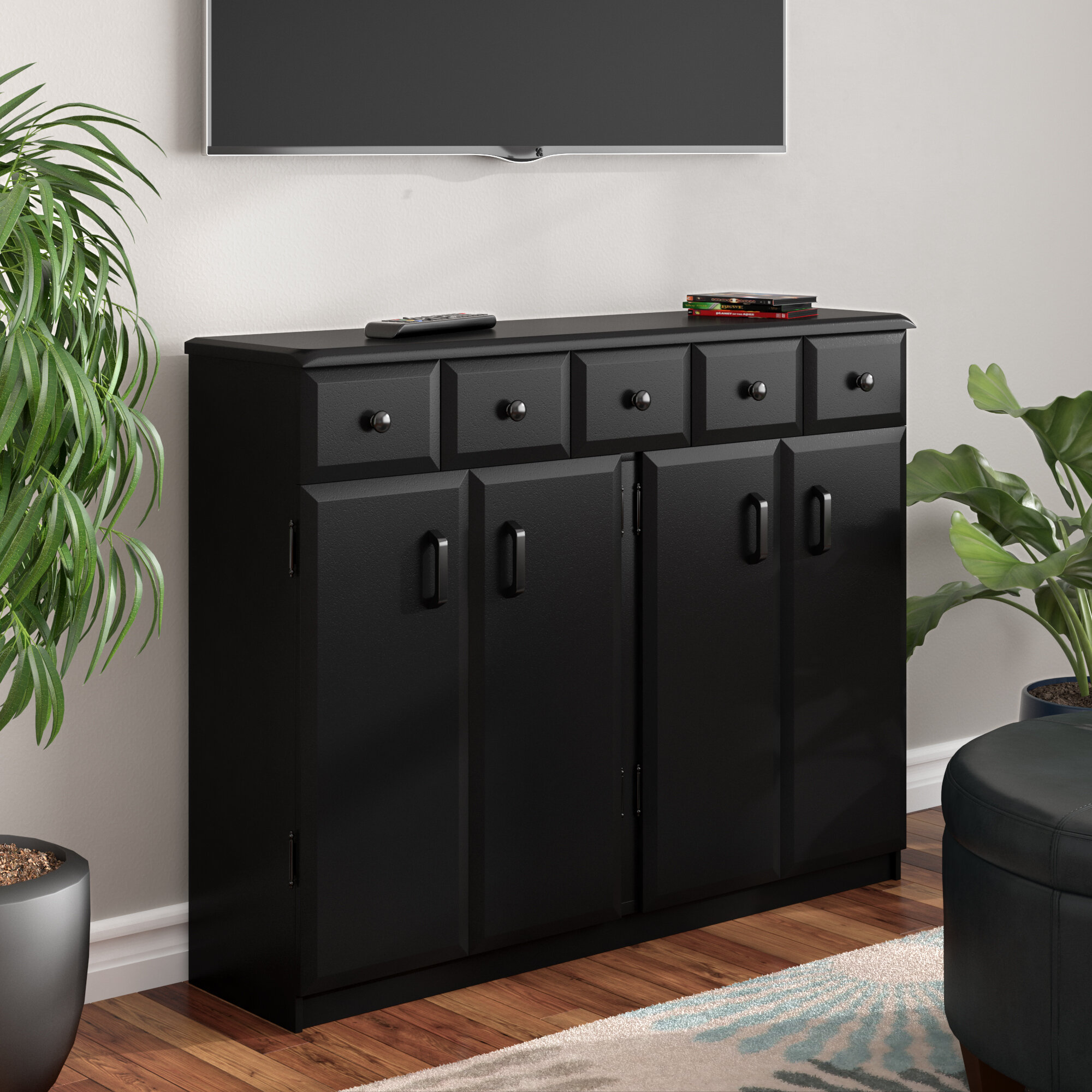Charmant Red Barrel Studio Multimedia Cabinet With Library Style Drawers U0026 Reviews |  Wayfair