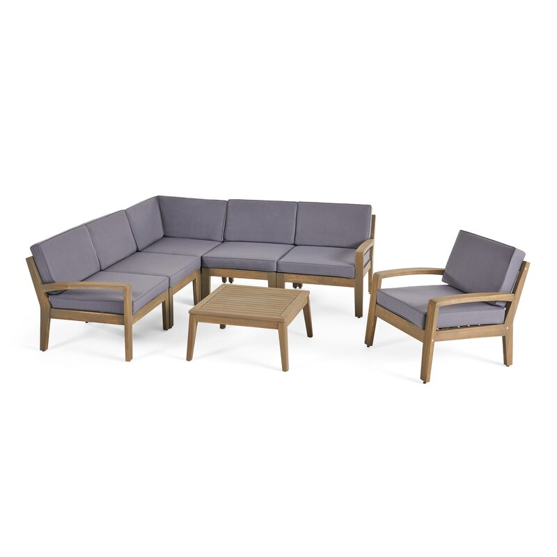 Longshore Tides  Jamie 6 Piece Sectional Seating Group with Cushion Cushion Color: Dark Gray, Frame Finish: Gray