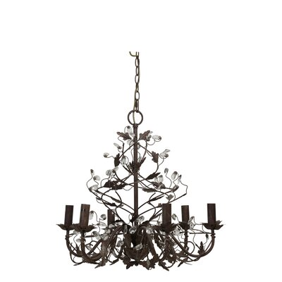 Evita Crystal Iron Hanging 6-Light Chandelier Light & Living