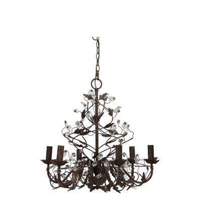 Light & Living Evita Crystal Iron Hanging 6-Light Chandelier