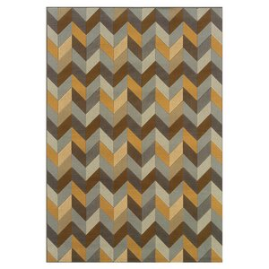 Milltown Grey/Gold Indoor/Outdoor Area Rug