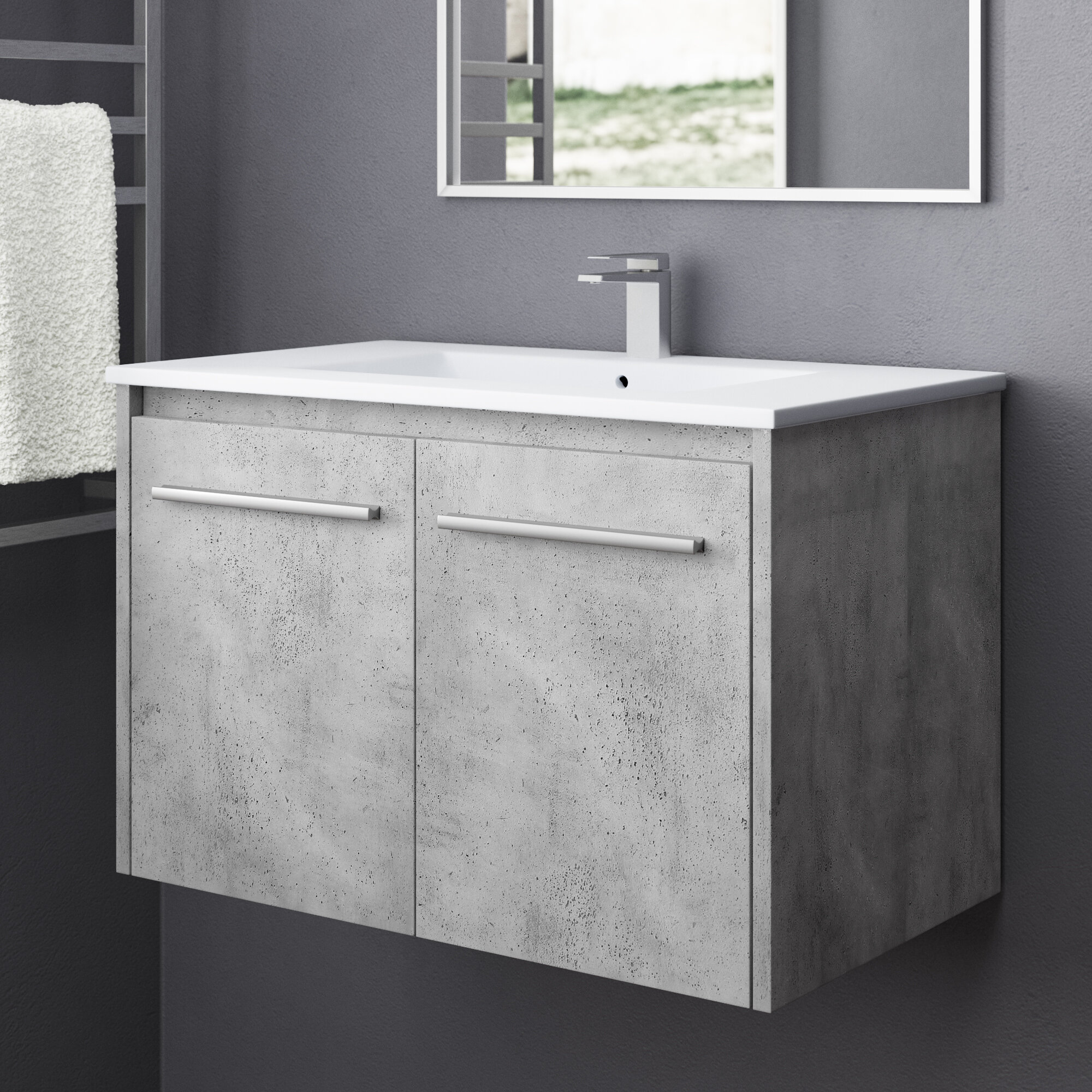 Orren Ellis Lanza 30 Wall Mounted Single Bathroom Vanity Set Reviews Wayfair