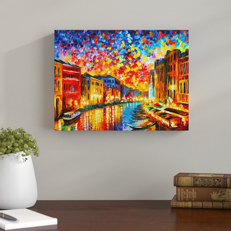 East Urban Home New Venice Grand Canal By Leonid Afremov Painting Print On Wrapped Canvas Reviews Wayfair Co Uk