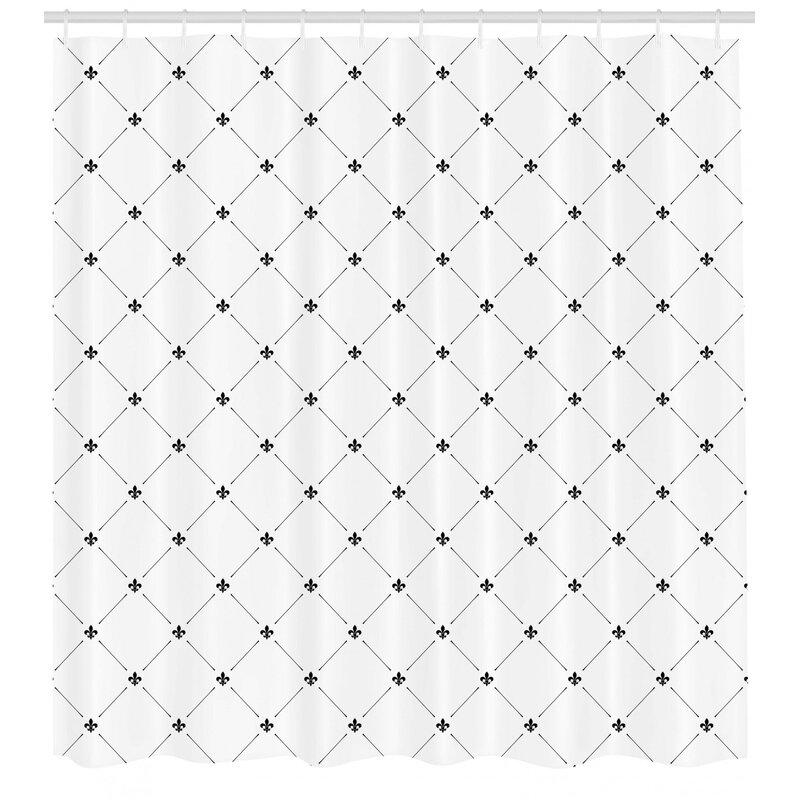 Wrought Studio Kavanagh Fleur De Lis Shabby Elegance Damask Pattern With Vintage Kitsch Geometric Diamond Lines Single Shower Curtain Reviews Wayfair