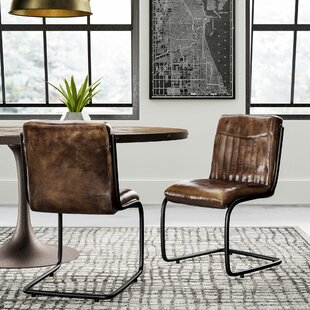 Toombs Genuine Leather Upholstered Dining Chair Set (Set of 2) Greyleigh