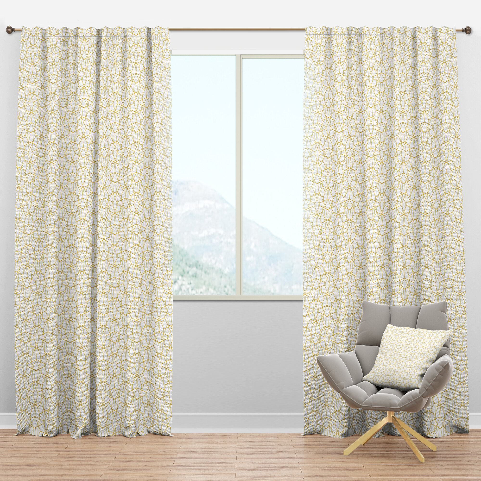 Designart Geometric Semi Sheer Thermal Rod Pocket Single Curtain Panel Wayfair