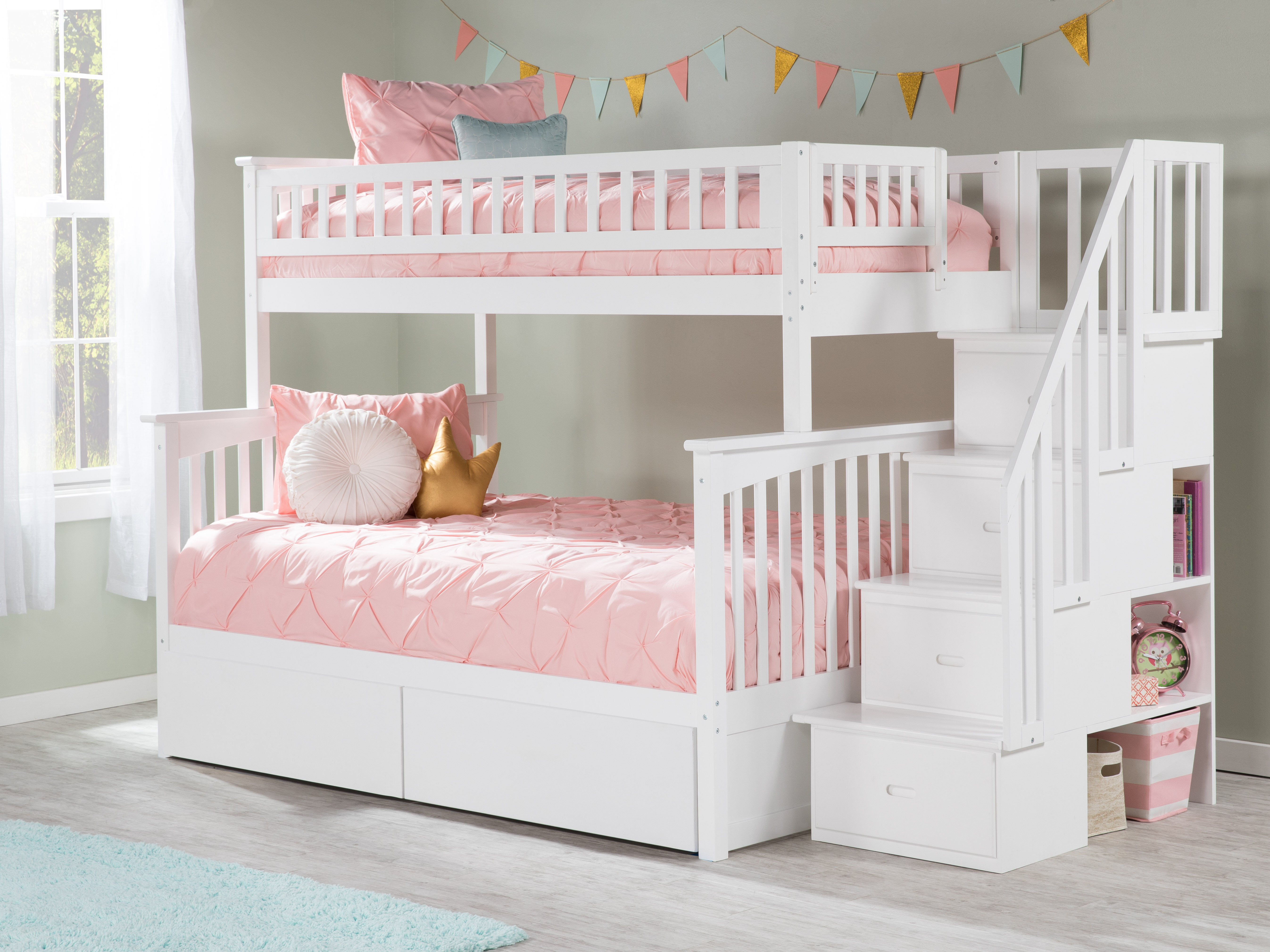 Picture of: Harriet Bee Abel Staircase Twin Over Full Bunk Bed With Drawers Reviews