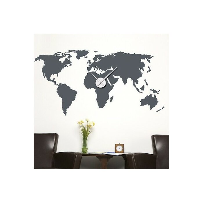 Style and apply world map wall clock wall decal reviews wayfair world map wall clock wall decal gumiabroncs Choice Image