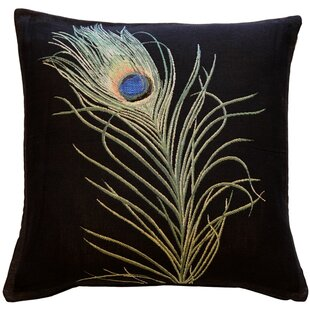 Harrell Peacock Feather Throw Pillow