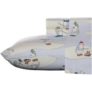 Skating Penguins Animal Print Flannel Sheet Set by Eddie Bauer