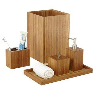 Cillian Bamboo 5-Piece Bathroom Accessory Set