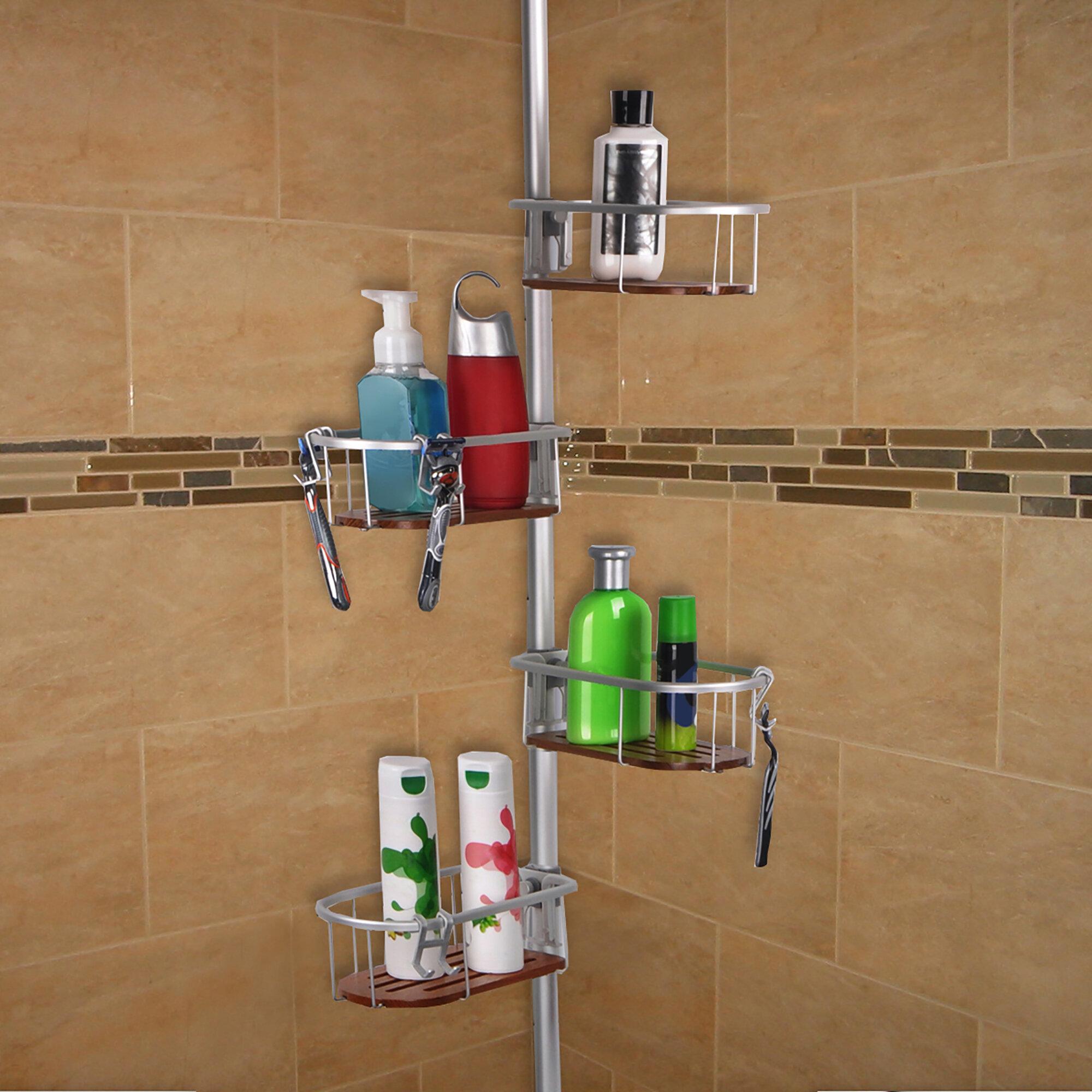 UtopiaAlley Teak Tension Rustproof Shower Caddy & Reviews | Wayfair
