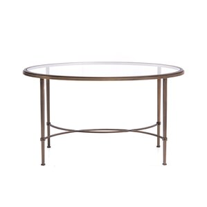 Oval Coffee Table with Tempered Crystal Glas..