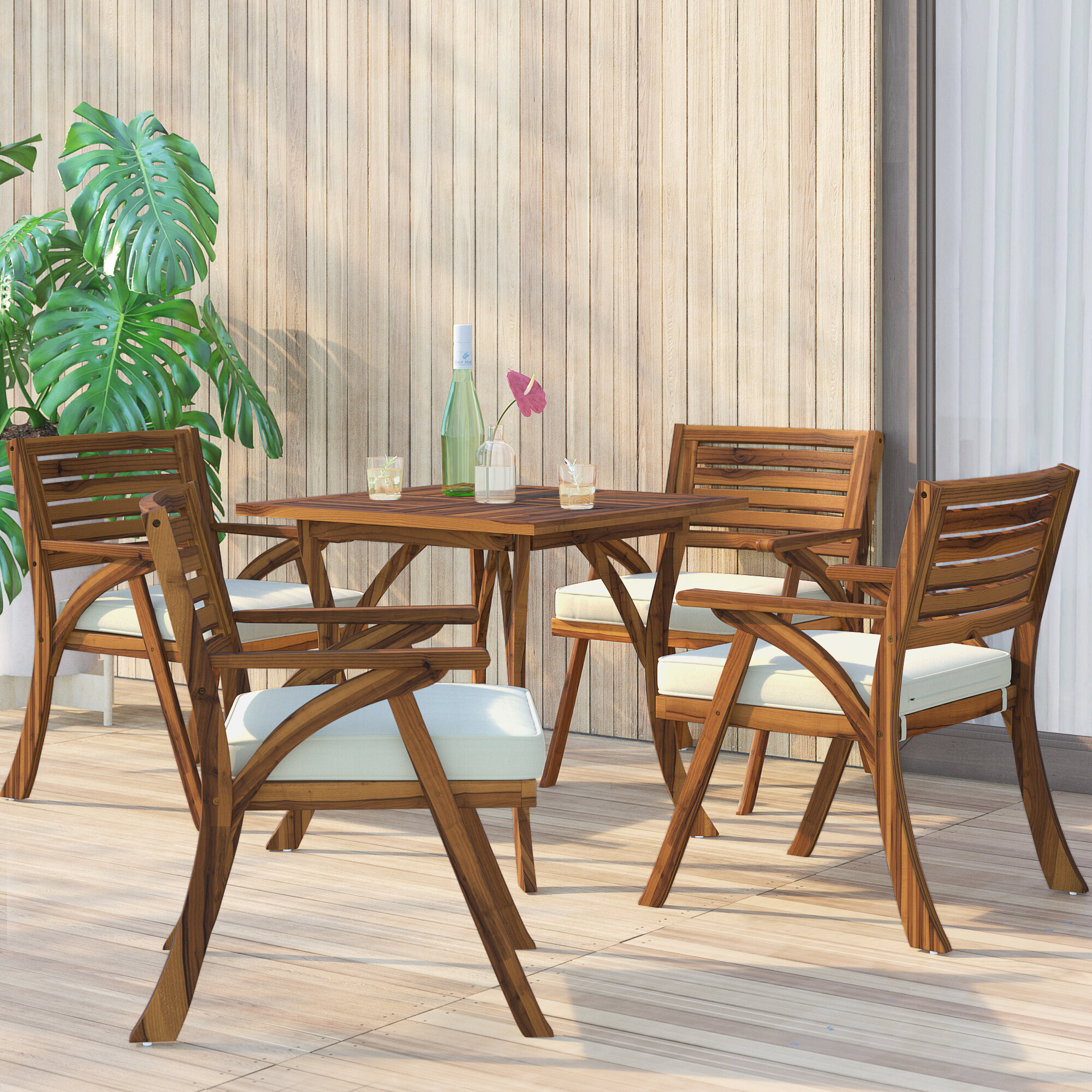 Mercury row ajax 5 piece teak dining set with cushions reviews wayfair