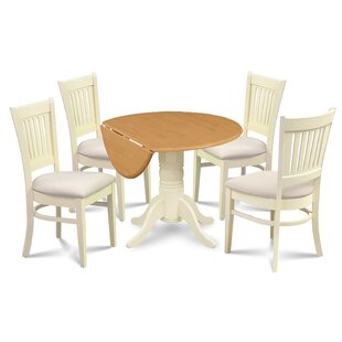 Keyshawn Transitional 5 Piece Drop Leaf Dining Set