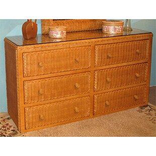 6 Drawer Double Dresser by Wicker Warehouse