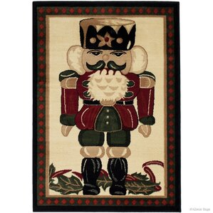 Holiday Christmas Nuter High Quality Wover Red Area Rug