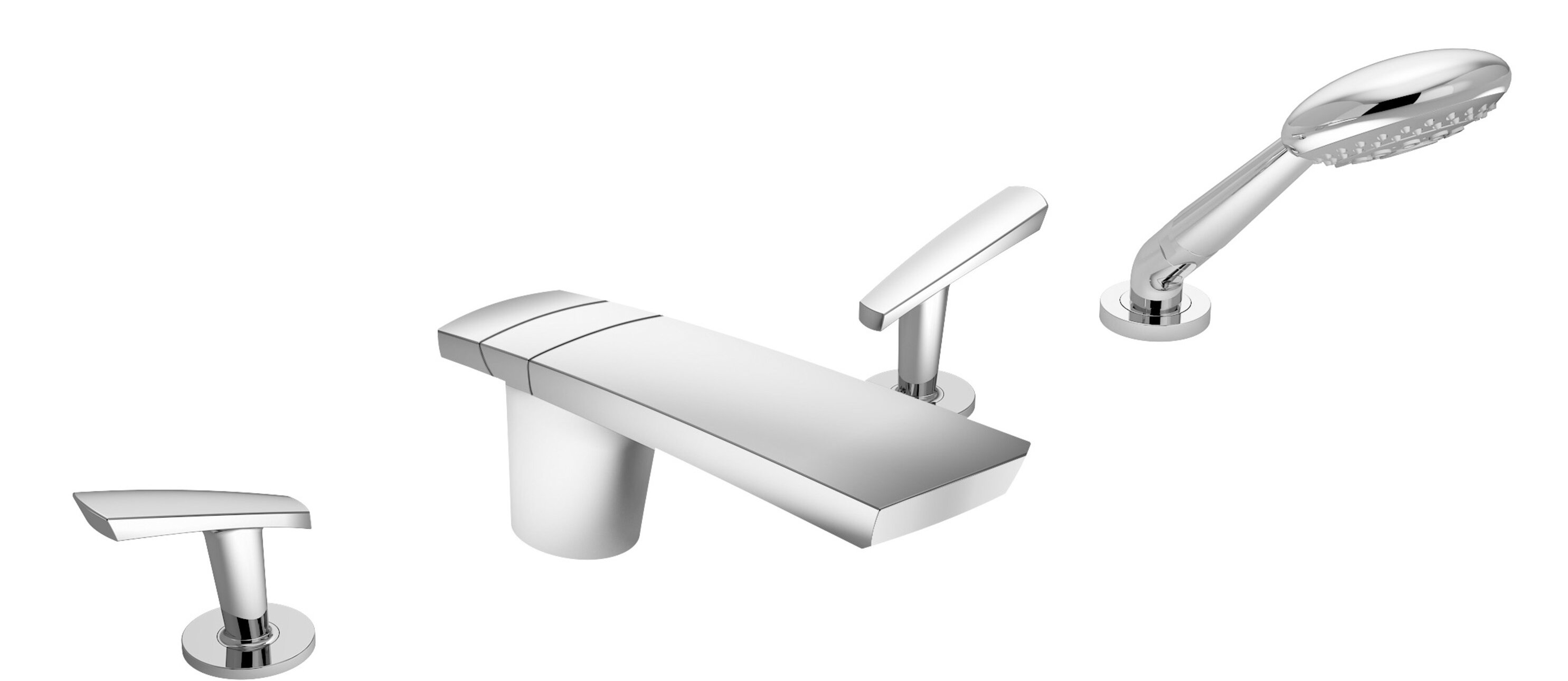 Symmons Naru Double Handle Deck Mounted Roman Tub Faucet With Diverter And Handshower Wayfair