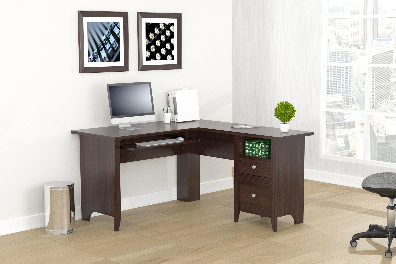 Wood Color L-Shaped Computer Desk