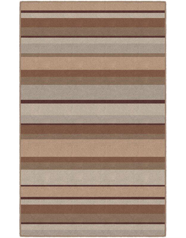 Winston Porter Archie Striped Tan Area Rug, Size: Rectangle 76 x 10