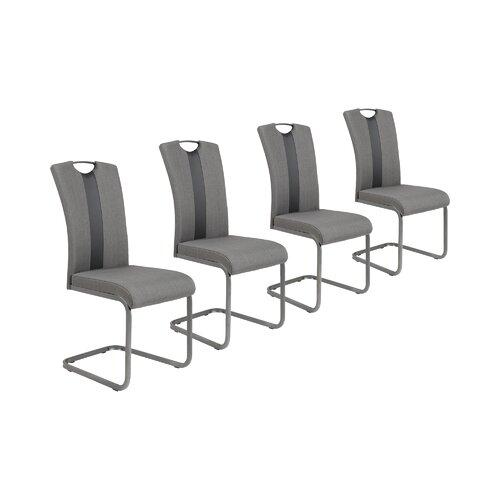Freischwinger-Set Lounsbury 2   Küche und Esszimmer > Stühle und Hocker > Freischwinger   Grau   Webstoff - Metall   17 Stories