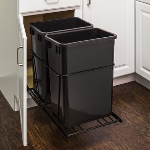 Double Steel 8.75 Gallon Open Pull Out/Under Counter Trash Can