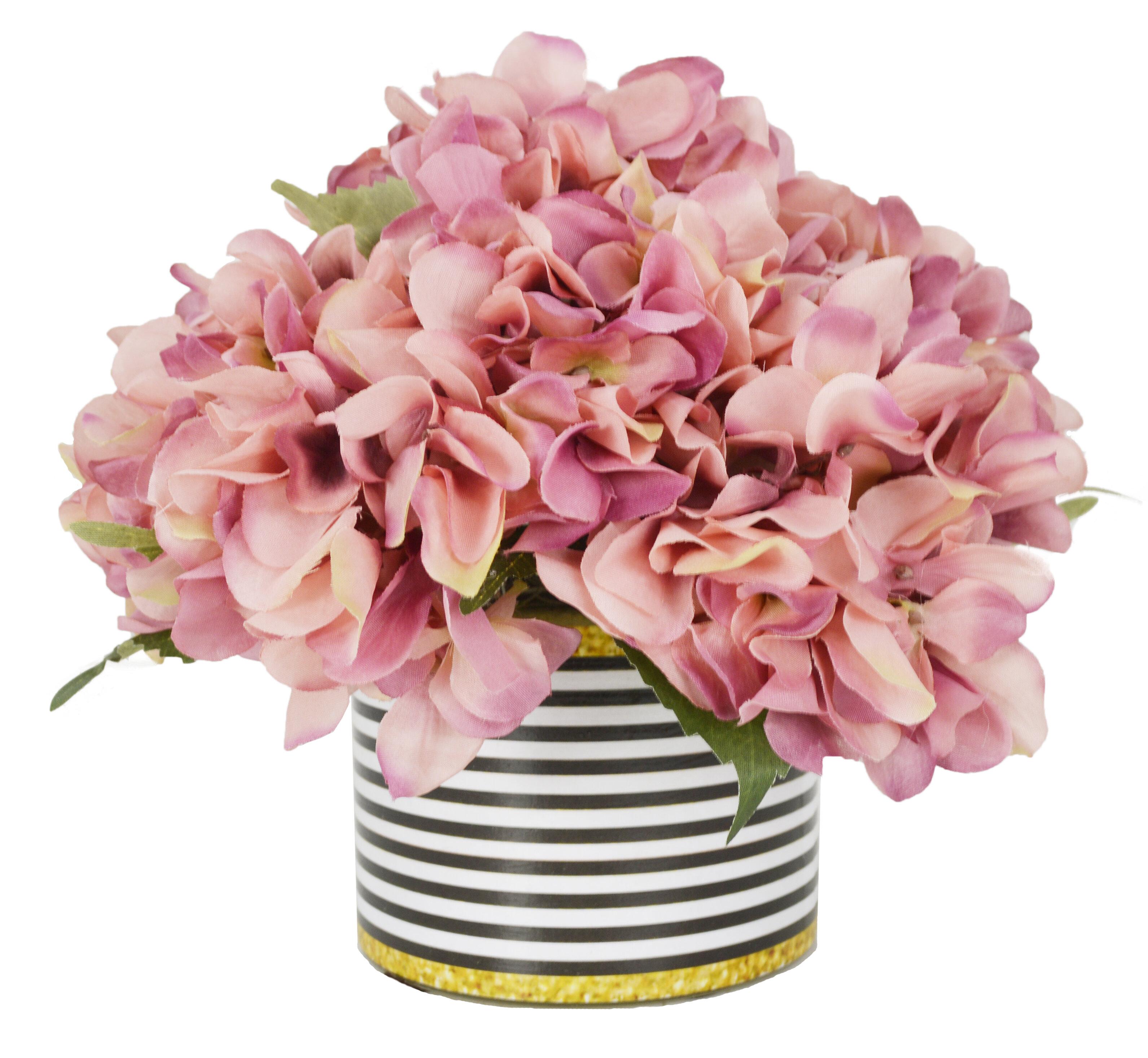 Willa Arlo Interiors Hydrangea Bouquet Floral Arrangement in Striped ...