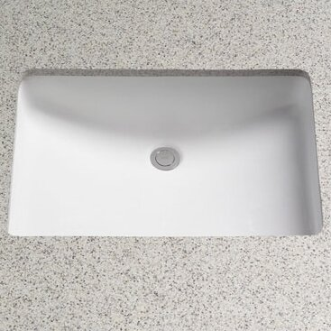 Rimless Ceramic Rectangular Undermount Bathroom Sink With Overflow