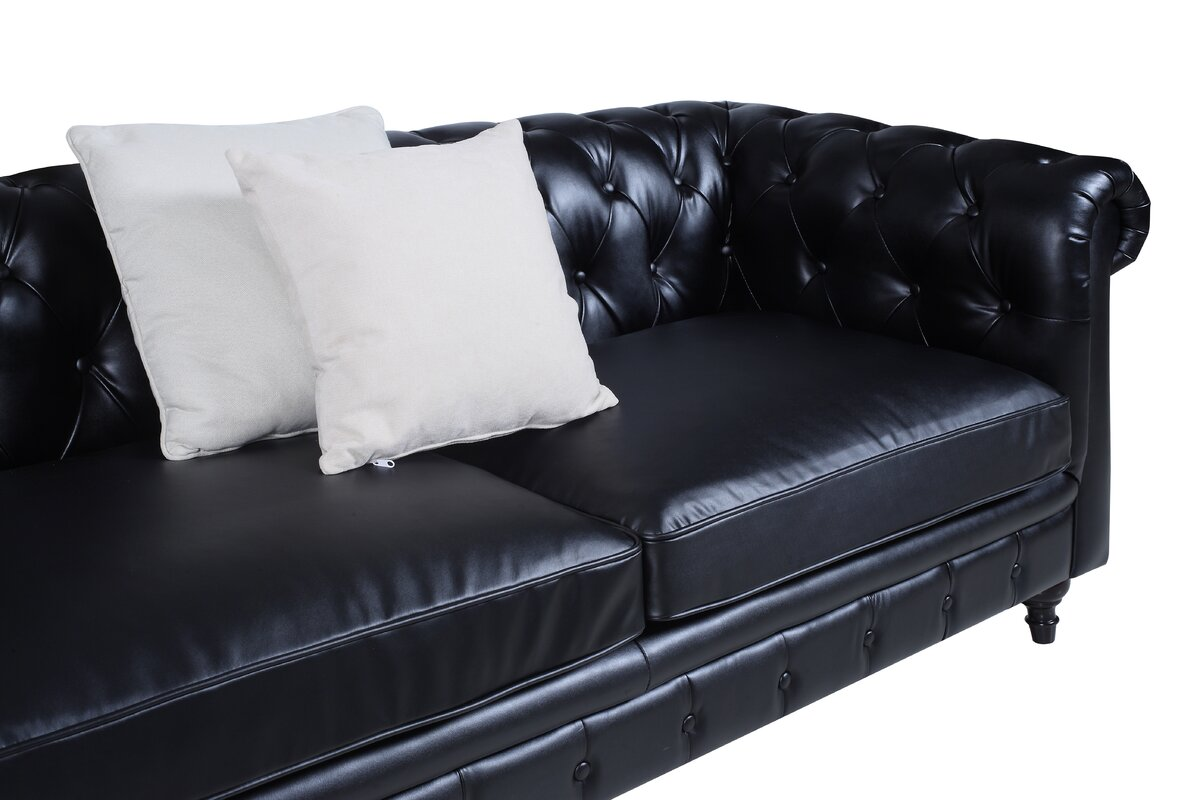 Madison Home USA Tufted Leather Chesterfield Sofa & Reviews | Wayfair