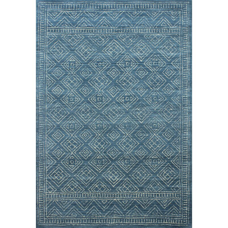 Mistana Kory Hand-Hooked Wool Azure Area Rug, Size: Rectangle 86 x 116