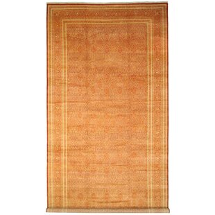 One-of-a-Kind Bronaugh Hand-Knotted 12'4 x 24'4 Wool Rust Red Area Rug By Isabelline