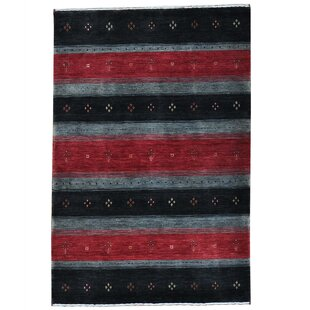 Inexpensive One-of-a-Kind Rossman Hand-Knotted 4' x 6' Wool Black Area Rug ByLoon Peak