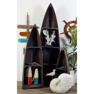 3 Piece Wood Boat Accent Shelves Set