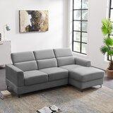 Cleves 84.6'' Velvet Right Hand Facing Sofa & Chaise by Orren Ellis