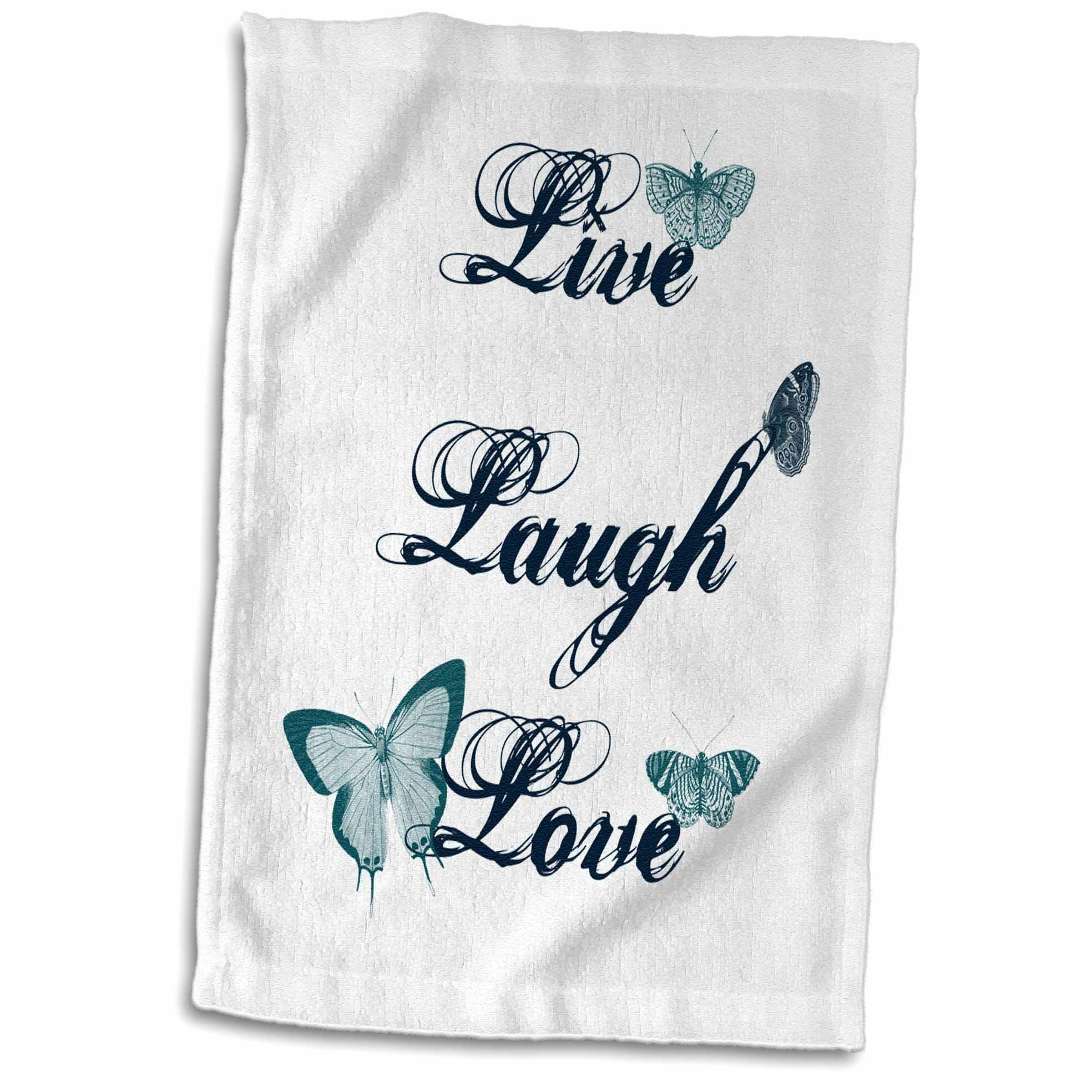 Symple Stuff Lake Macquarie Live Laugh Love Teal Butterflies Inspirational Art Hand Towel Wayfair