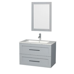 Compare prices Olivia 36 Single Dove Gray Bathroom Vanity Set with Mirror By Wyndham Collection