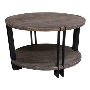 Bengal Manor Iron and Acacia Wood Round Coffee Table