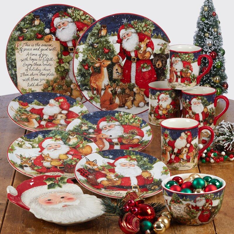 Delorme Magic of Christmas Santa 16 Piece Dinnerware Set