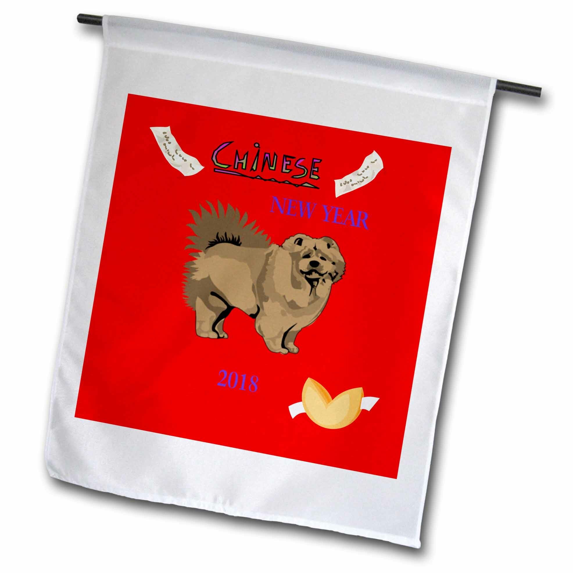 3drose Image Of Chinese New Year With Chow Dog And Fortune Cookie Polyester 18 X 12 In Garden Flag Wayfair