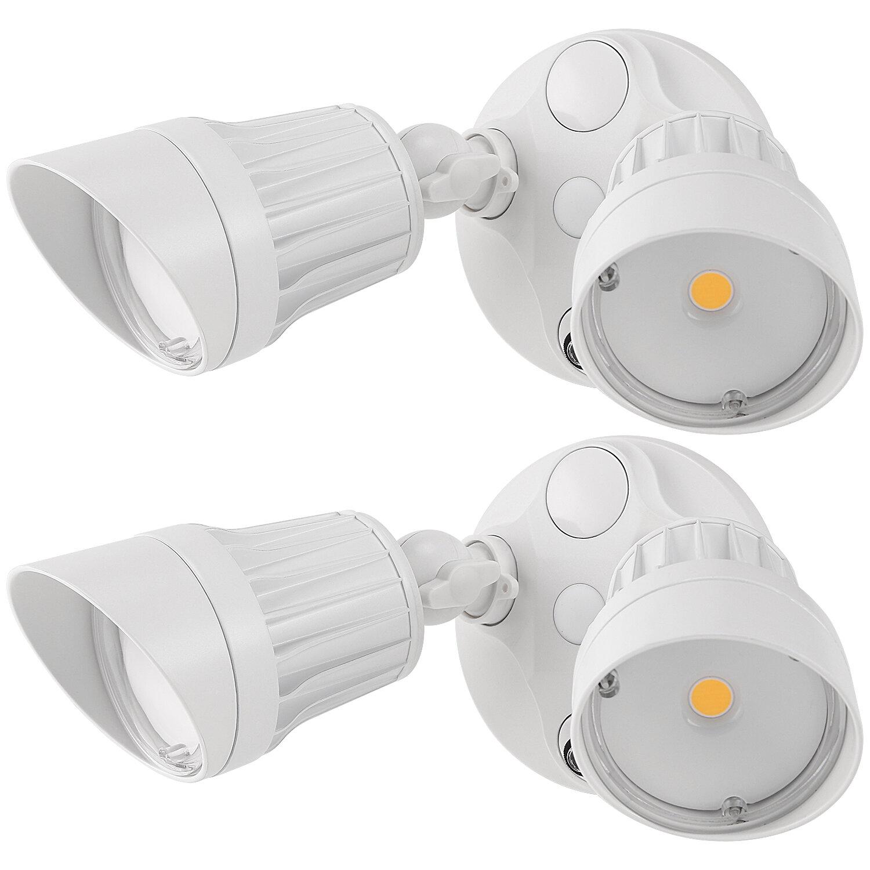 Leonlite 20 Watt Led Dusk To Dawn Outdoor Security Flood Light With Motion Sensor Pack Of 2 Wayfair