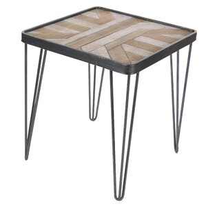 Rickia Square Metallic Wood End Table by Bloomsbury Market