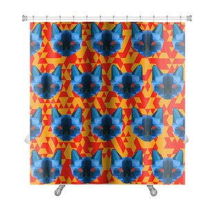 Animals Bright Colored Polygonal Siamese Cat Premium Shower Curtain