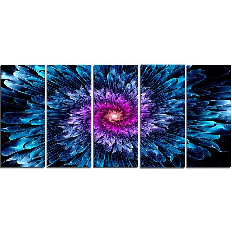 Designart Magical Glowing Fractal Flower 5 Piece Graphic Art On Wrapped Canvas Set Wayfair