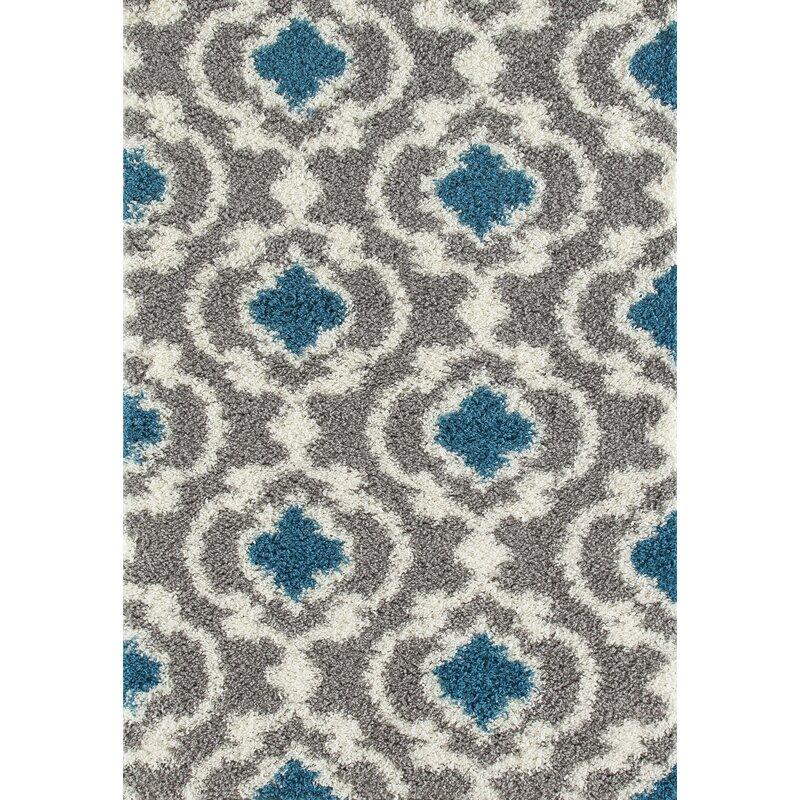 2d0a6d3dea9 Andover Mills Hegwood Moroccan Trellis Shag Gray Turquoise Area Rug    Reviews