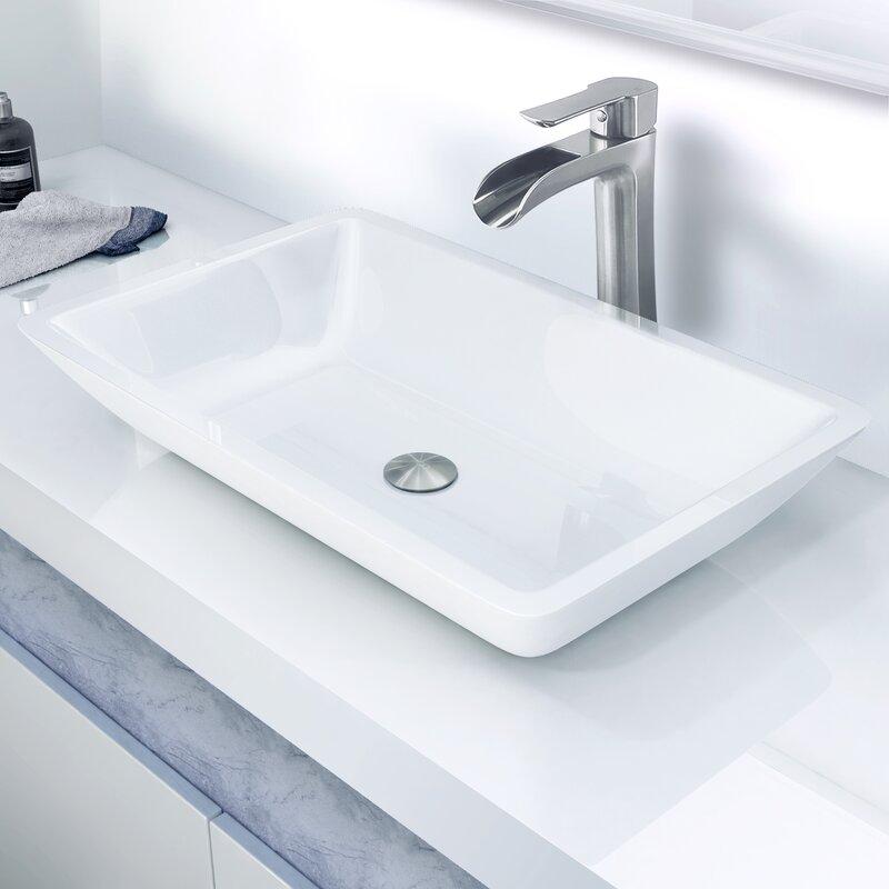Superieur Large Flat Edged Phoenix Stone Rectangular Vessel Bathroom Sink With Faucet