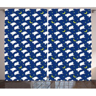 Clyde Cartoon Cute Sleeping Lambs Pattern with Crescent Moon and Stars Bed Children Print Graphic Print & Text Semi-Sheer Rod Pocket Curtain Panels (Set of 2) by Harriet Bee