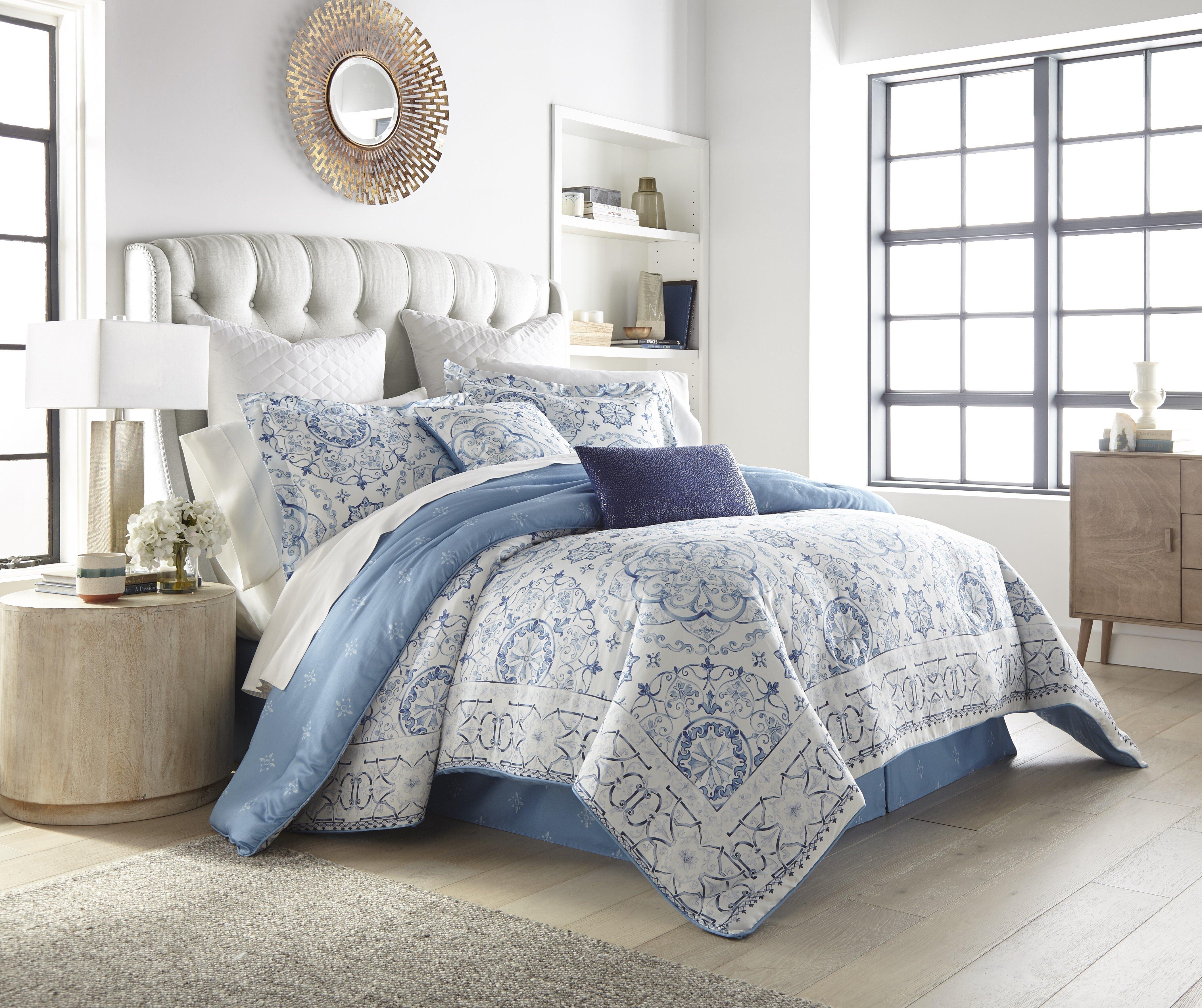Kathy Ireland Home Baby Blue Geometric 100 Pima Cotton 8 Piece Comforter Set Reviews Wayfair