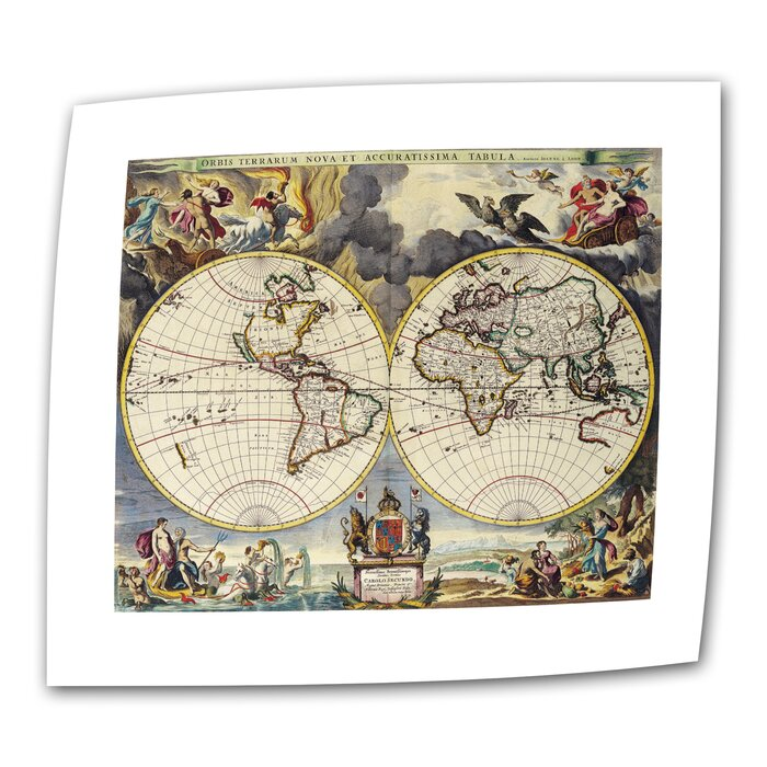 Antique Maps 'Map of the World' by Loanne a Loon Graphic Art on Rolled on earth map canvas, old world map canvas, map wall art, ikea world map canvas, united states map canvas,