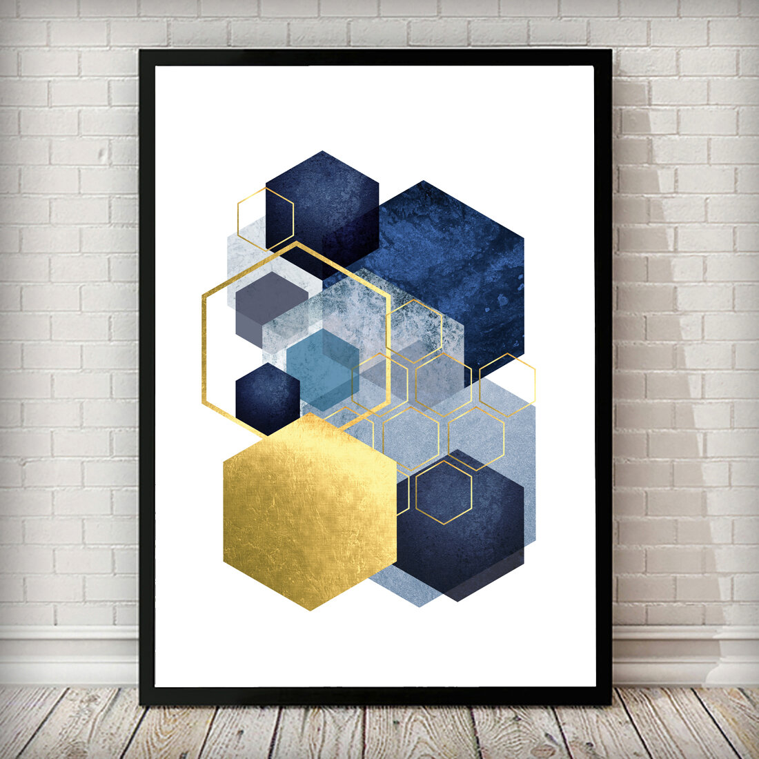 East Urban Home Geometric Hexagon Navy Gold Grey Abstract Picture Frame Print On Paper Reviews Wayfair Co Uk