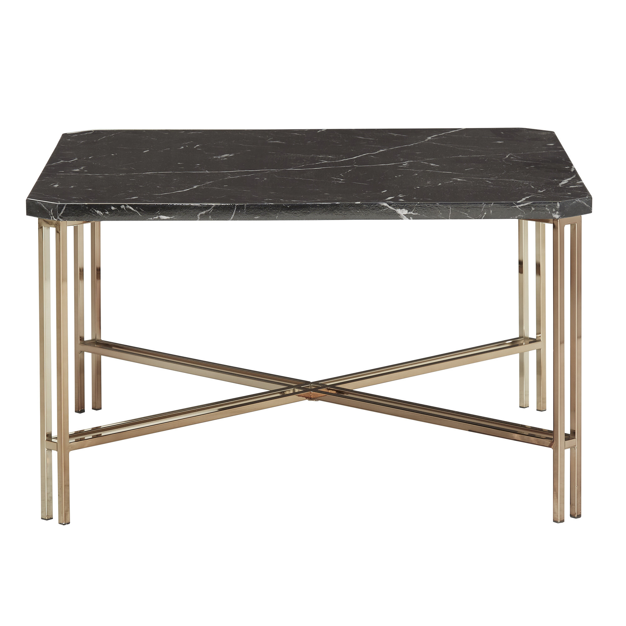 Mercer41 Champagne Gold Finish Cocktail Table With Black Faux Marble Top Wayfair Ca